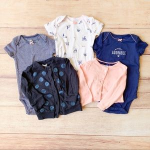 Baby Girl Onesie & Cardigan Bundle: 6m